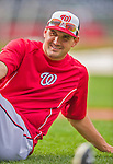 5 April 2014: Washington Nationals third baseman Ryan Zimmerman stretches out  prior to facing the Atlanta Braves at Nationals Park in Washington, DC. The Braves defeated the Nationals 6-2 to take the second game of their 3-game series. Mandatory Credit: Ed Wolfstein Photo *** RAW (NEF) Image File Available ***