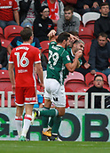 30th September 2017, Riverside Stadium, Middlesbrough, England; EFL Championship football, Middlesbrough versus Brentford; Yoann Barbet of Brentford celebrates with Neal Maupay as he opened the scoring with a header in the 29th minute in the 2-2 draw