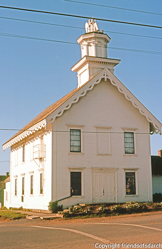 Mendocino CA: Masonic Hall, 1865. NW corner of Lansing & Ukiah St. Photo '83.