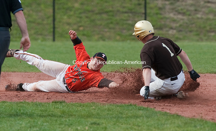 PLYMOUTH, CT 10 MAY 2013--051013JS04- Terryville's Ben Russo (5) dives but not in time to get Thomaston's Willie Bregonzio (1) out at second base during their game Friday at Terryville High School in Plymouth..Jim Shannon Republican-American
