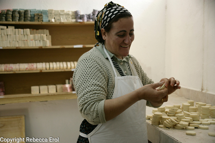 Making olive oil soaps at a women's charity run by the Foundation for the Support of Women's Work (KEDV), Mardin, southeastern Turkey