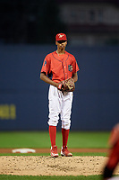 Williamsport Crosscutters relief pitcher Manuel Silva (11) looks in for the sign during during a game against the Mahoning Valley Scrappers on August 28, 2018 at BB&T Ballpark in Williamsport, Pennsylvania.  Williamsport defeated Mahoning Valley 8-0.  (Mike Janes/Four Seam Images)