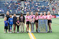 Seattle, WA - Saturday July 16, 2016: Pre-game ceremony prior to a regular season National Women's Soccer League (NWSL) match between the Seattle Reign FC and the Western New York Flash at Memorial Stadium.