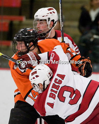 Louis Leblanc (Harvard - 20), Mark Magnowski (Princeton - 14), Alex Biega (Harvard - 3) - The Princeton University Tigers defeated the Harvard University Crimson 2-1 on Friday, January 29, 2010, at Bright Hockey Center in Cambridge, Massachusetts.