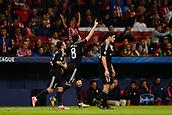 31st October 2017, Wanda Metropolitano, Madrid, Spain; UEFA Champions League, Atletico Madrid versus Qarabag FK; Michel (8) Qarabag's player celebrates the (0,1) after scoring his team´s goal