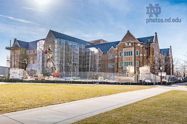 February 17, 2017; Jenkins Hall under construction (Photo by Matt Cashore/University of Notre Dame)