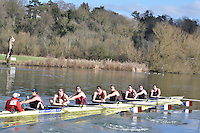 001 ELI.8+ Oxford Brookes Univ A ..Reading University Boat Club Head of the River 2012. Eights only. 4.6Km downstream on the Thames form Dreadnaught Reach and Pipers Island, Reading. Saturday 25 February 2012.