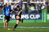 Freddie Burns of Bath Rugby kicks for the posts. Heineken Champions Cup match, between Bath Rugby and Stade Toulousain on October 13, 2018 at the Recreation Ground in Bath, England. Photo by: Patrick Khachfe / Onside Images