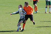 VOETBAL: JOURE: Sportpark de Hege Simmerdyk, 20-04-2013, Amateurvoetbal 2012-2013, SC Joure zat. afd. - VV Oudehaske, Sebatiaan de Leeuw (#9) Lennart Nijholt (#8), Eindstand 1-1, ©foto Martin de Jong