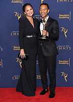 09 September 2018 - Los Angeles, California - Chrissy Teigen, John Legend. 2018 Creative Arts Emmy Awards - Press Room held at Microsoft Theater. <br /> CAP/ADM/BT<br /> &copy;BT/ADM/Capital Pictures