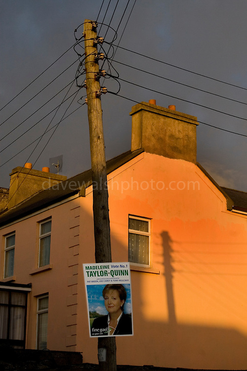 Election poster for Madeleine Taylor Quinn on telephone pole in Lahinch, Co. Clare..