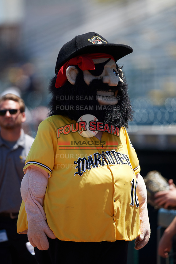 Bradenton Marauders mascot Marty before a game against the Charlotte Stone Crabs on April 9, 2017 at LECOM Park in Bradenton, Florida.  Bradenton defeated Charlotte 5-0.  (Mike Janes/Four Seam Images)
