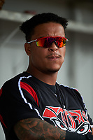 Lake Elsinore Storm catcher Marcus Greene Jr. (6) before a California League game against the Rancho Cucamonga Quakes at LoanMart Field on May 20, 2018 in Rancho Cucamonga, California. Rancho Cucamonga defeated Lake Elsinore 6-2. (Zachary Lucy/Four Seam Images)