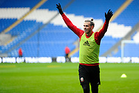 Gareth Bale celebrates during the Wales Training Session at the Cardiff City Stadium in Cardiff, Wales, UK. Thursday 15 November 2018