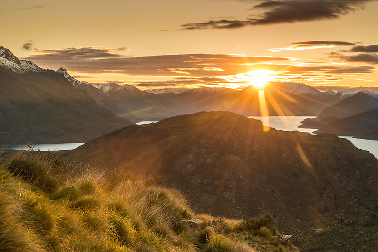 Sunset over Deerpark Heights and Mt Nicolas  Queenstown, South Island, New Zealand - stock photo, canvas, fine art print