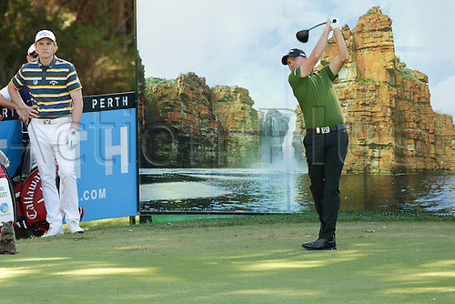 26.02.2016. Perth, Australia. ISPS HANDA Perth International Golf. James Morrison (ENG) plays off the 18th tee during day 2.