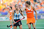 The Hague, Netherlands, June 12: Mariela Scarone #21 of Argentina and Kim Lammers #23 of The Netherlands gesture during the field hockey semi-final match (Women) between The Netherlands and Argentina on June 12, 2014 during the World Cup 2014 at Kyocera Stadium in The Hague, Netherlands. Final score 4-0 (3-0)  (Photo by Dirk Markgraf / www.265-images.com) *** Local caption ***