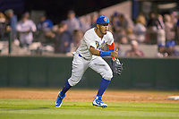 Rancho Cucamonga Quakes first baseman Cristian Santana (5) in action against the Inland Empire 66ers at LoanMart Field on April 12, 2018 in Rancho Cucamonga, California. The 66ers defeated the Quakes 5-4.  (Donn Parris/Four Seam Images)