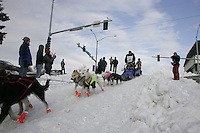 Jake Berkowitz in Anchorage on Saturday March 1st during the ceremonial start day of the 2008 Iidtarod Sled Dog Race.