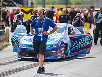 Sep 2, 2018; Clermont, IN, USA; Crew member for NHRA pro stock driver Shane Tucker during qualifying for the US Nationals at Lucas Oil Raceway. Mandatory Credit: Mark J. Rebilas-USA TODAY Sports
