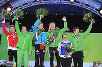 SCHAATSEN: AMSTERDAM: Olympisch Stadion, 02-03-2014, KPN NK Sprint/Allround, Coolste Baan van Nederland, eindpodium Dames/Heren Allround, Renz Rotteveel, Diane Valkenburg, Yvonne Nauta, Koen Verweij, Irene Schouten, Wouter olde Heuvel, ©foto Martin de Jong