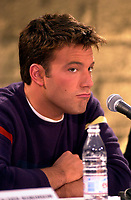 Montreal,April 9, 2001<br /> American actor Ben Affleckmakes a funny expression while he  speaks at a press conference for the movie `` Sum of all fears ``, currentlly beeing shot in Montreal, CAnada by film maker Phil Alden Robinson.<br /> <br /> Affleck plays CIA analyst Jack Ryan in the 4th movie  based on a Tom Clancy's novel and produced by Mace Neufeld.<br /> <br /> <br /> NOTE :  color corrected D-1 file, saved asAdobe 1998 RBG Color space