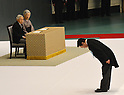 August 15, 2012, Tokyo, Japan - Japan's Prime Minister Yoshihiko Noda offers bows during a ceremony marking the 67th anniversary of the end of World War II at Tokyo's Budokan Martial Arts Hall on Wednesday, August 15, 2012.  (Photo by Natsuki Sakai/AFLO) AYF -mis-