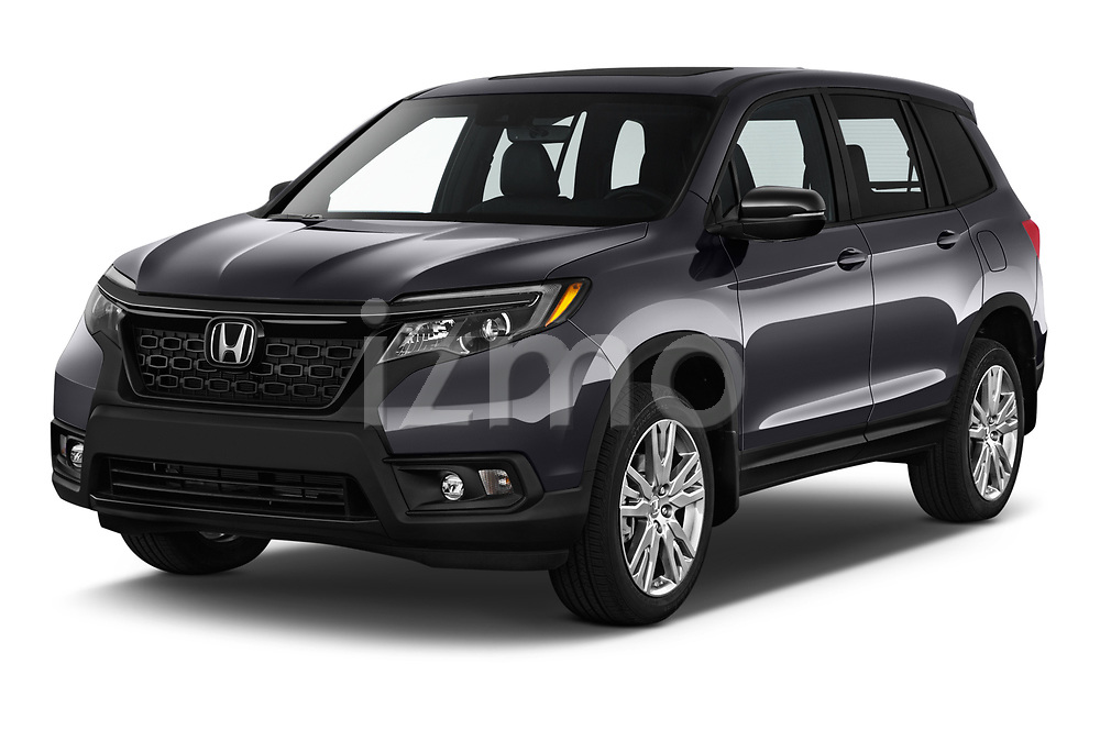 2019 Honda Passport EX-L 5 Door SUV Angular Front stock photos of front three quarter view