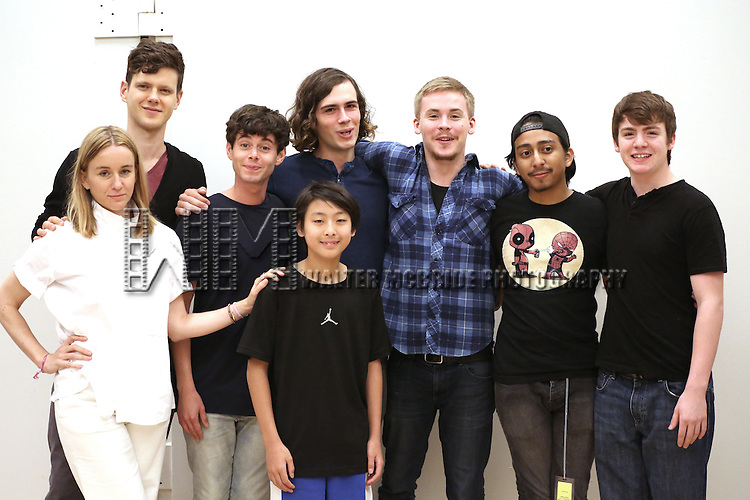 Emily Cass McDonnell, Peter Mark Kendall, Paul Iacono, Zane Pais, Bradley Fong, Sea McHale, Tony Revolori and Jack DiFalco attends the first day rehearsal for the New Group production of 'Mercury Fur' at the New 42nd Street Studios on July 6, 2015 in New York City.