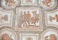 Roman mosaic depicting in its centre panel the victory of Apollo who is being crowned Marsyas in the mytrhical legend of The Four Seasons. Late 2nd centruy AD from Thysdrus (El Jem). Roman mosaics from the north African Roman province of Africanus . Inv 529 Bardo Museum, Tunis, Tunisia.