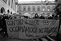 milano, manifestazione degli studenti del'università statale contro la riforma dell'istruzione --- milan, demonstration of the students of the state university against the school reform