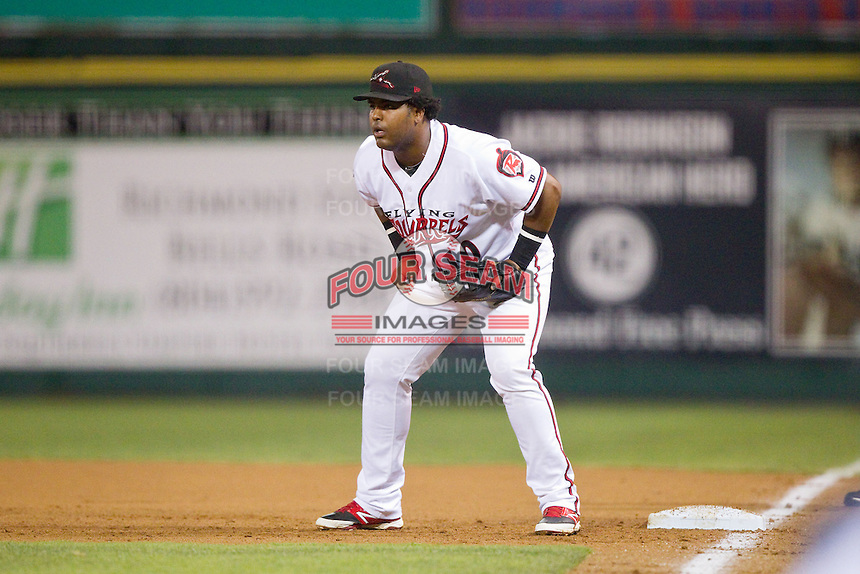 Richmond Flying Squirrels first baseman Angel Villalona (10) on defense against the New Hampshire Fisher Cats at The Diamond on June 13, 2014 in Richmond, Virginia.  The Fisher Cats defeated the Flying Squirrels 6-3.  (Brian Westerholt/Four Seam Images)