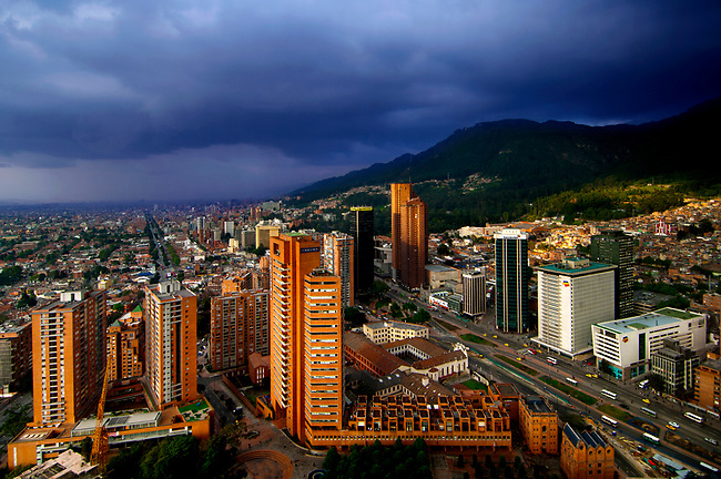 Colombia, Bogota, Downtown, Looking North, Andes Mountains