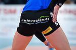 18.11.2018, Halle Berg Fidel, Muenster<br />Volleyball, Bundesliga Frauen, Normalrunde, USC MŸnster / Muenster vs. VfB Suhl Lotto ThŸringen / Thueringen<br /><br />Claudia Steger (#11 Suhl) / Werbung Suhl fuer Landkreis Schmalkalden / Meiningen - prachtregion.de<br /><br />  Foto &copy; nordphoto / Kurth