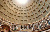 "Rome, Italy - April 4, 2006 -- View of the dome, almost to the oculus, of the Pantheon, the Roman ""temple of all the gods"", in Rome, Italy on Tuesday, April 4, 2006.  The Pantheon is the best preserved of all of Rome's ancient building.  It is believed to have been built in the first century AD by the Emperor Hadrian..Credit: Ron Sachs / CNP"