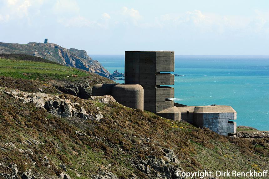 Wehrmachtsturm (Bunker) bei Kap Pleinmont, Insel Guernsey, Kanalinseln