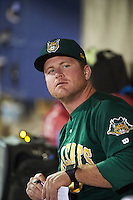 Lynchburg Hillcats coach Larry Day (8) in the dugout during a game against the Wilmington Blue Rocks on June 3, 2016 at Judy Johnson Field at Daniel S. Frawley Stadium in Wilmington, Delaware.  Lynchburg defeated Wilmington 16-11 in ten innings.  (Mike Janes/Four Seam Images)