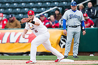 Matt Adams #53 of the St. Louis Cardinals catches a ball thrown to first base during a game against the Tulsa Drillers at Hammons Field on May 4, 2013 in Springfield, Missouri. Adams was on a four game rehab assignment in Springfield. (David Welker/Four Seam Images)