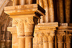 Column capitals in the 13th century cloister in the Old Cathedral in Coimbra, Portugal.