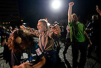 Greek referendum on the proposed resolution of the creditors. Greek citizens celebrate the victory of the no. July 5, 2015. (ALTERPHOTOS/Pablo Garcia)