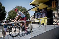 Ilnur Zakarin (RUS/Katusha-Alpecin) at the race start in front of the Arena in Nîmes<br /> <br /> Stage 16: Nîmes to Nîmes (177km)<br /> 106th Tour de France 2019 (2.UWT)<br /> <br /> ©kramon