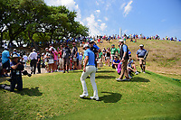 Dustin Johnson (USA) departs 16 for 17 as a huge gallery follows during round 6 of the World Golf Championships, Dell Technologies Match Play, Austin Country Club, Austin, Texas, USA. 3/26/2017.<br /> Picture: Golffile | Ken Murray<br /> <br /> <br /> All photo usage must carry mandatory copyright credit (&copy; Golffile | Ken Murray)