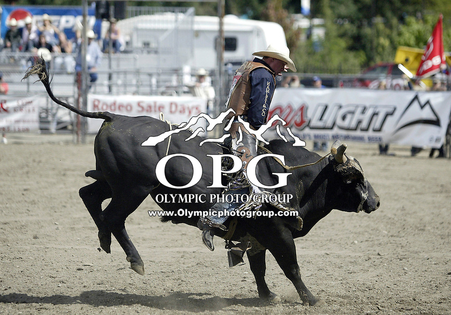 26 Aug 2007:  Colby Reilly riding the bull Dark Alley scored a 86 in the Extreme Bulls competition at the Kitsap County Thunderbird PRCA Pro Rodeo Extreme Bulls in Bremerton, Washington.