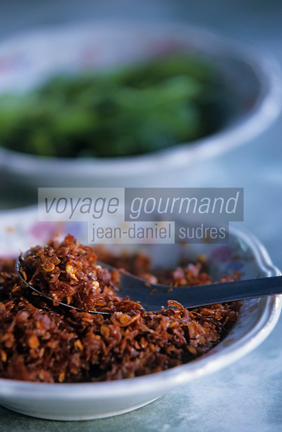 "Asie/Birmanie/Myanmar/Haute Birmanie/Mandalay : ""Birman Aye Myit Tar"" - Accompagnement du curry de crevettes - Chili"