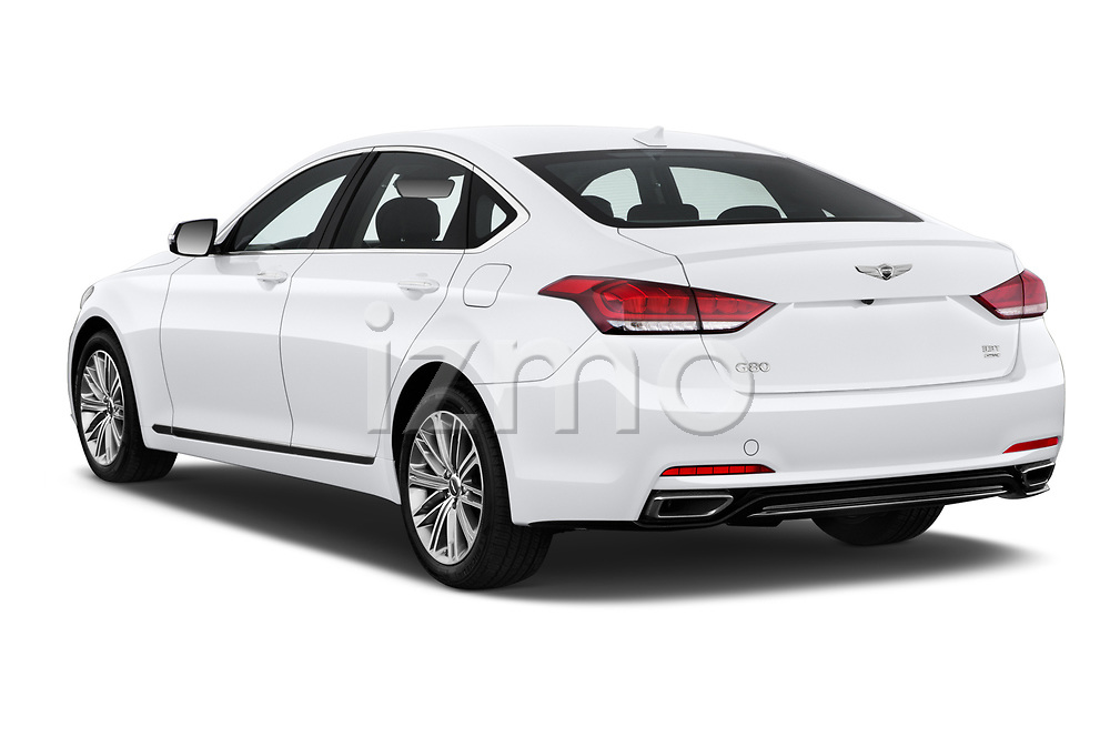 Car pictures of rear three quarter view of a 2019 Genesis G80 RWD 4 Door Sedan angular rear