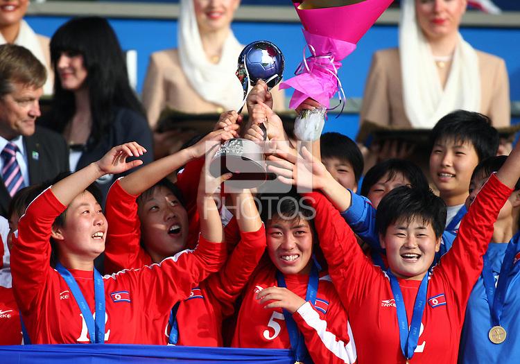 Jubilent Korea DPR players. USA v Korea Republic. FIFA U-17 Women's World Cup Final. North Harbour Stadium, Auckland, Sunday 16 October 2008. Photo: Simon Watts/PHOTOSPORT