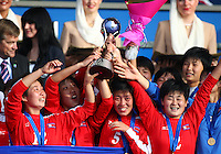 Jubilent Korea DPR players. USA v Korea Republic. FIFA U-17 Women's World Cup Final. North Harbour Stadium, Auckland, Sunday 16 October 2008. Photo: Simon Watts/PHOTOSPORT