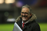 Announcer and BBC Radio Cymru presenter Tomo, during the Guinness PRO14 match between Scarlets and Cardiff Blues at Parc Y Scarlets Stadium, Llanelli, Wales, UK. Saturday 28 October 2017