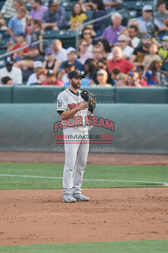 Steve Lombardozzi (2) of the Nashville Sounds on defense against the Salt Lake Bees at Smith's Ballpark on July 28, 2018 in Salt Lake City, Utah. The Bees defeated the Sounds 11-6. (Stephen Smith/Four Seam Images)