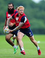 Tom Homer of Bath Rugby looks to pass the ball. Bath Rugby pre-season training session on August 9, 2016 at Farleigh House in Bath, England. Photo by: Patrick Khachfe / Onside Images